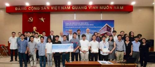 6月24日にベトナム・ホーチミン市建築大学で行われた「ARCHICAD BIMコンペ」の最終選考会。同大学のチーム「345」が見事、最優秀賞に輝いた
