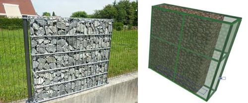 蛇かご壁の例(左)。モルフツールやカーテンウオールツールで作成した蛇かご壁のBIMパーツ(右)