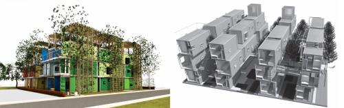 3位のチーム「BTT」の「Space between boxes」の外観パース(左)。その主要構造部は使用済みコンテナを再利用したものだ(右)