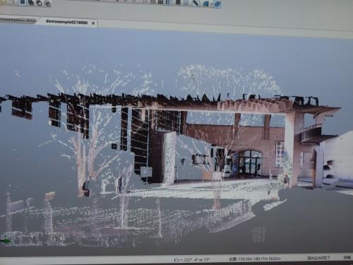 栃木県立博物館の玄関周辺を計測した点群データ