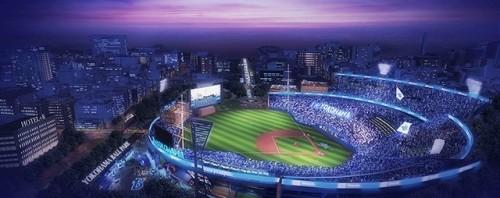 横浜スタジアムのボールパーク化構想。日本大通りに開かれた視界などをCGで再現