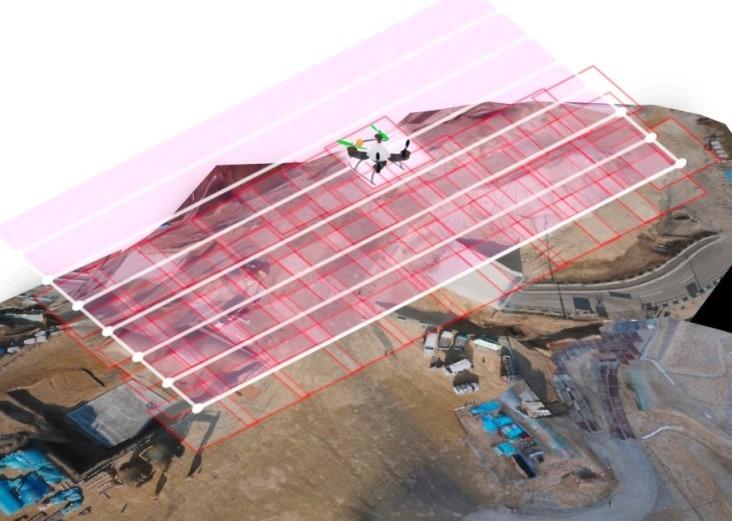 現場上空をジグザクコーズで飛行しながら撮影するドローンのイメージ図