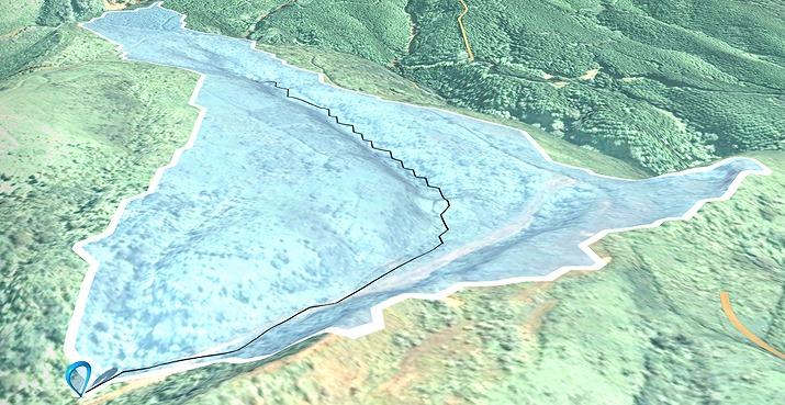 造成前の現地形から求めた集水域と水みち