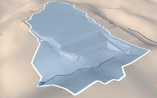 造成後の地形の集水域と水みち。造成前に比べるとかなり変わっているのがわかる