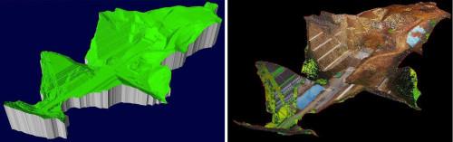 切り土現場を3Dスキャナーで計測した結果を3Dモデル化したもの(左)。さらに現場の写真を張り付けたもの(右)
