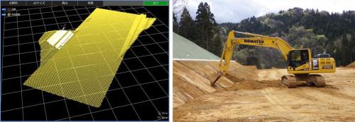 設計面のLandXMLデータ(左)と、マシンコントロールバックホーによる施工(右)