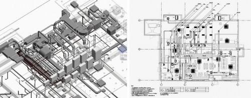 Revitで作成した設備のBIMモデル(左)と図面(右)