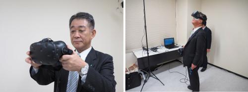 VRゴーグルを着ける第一建設工業 取締役 常務執行役員 土木本部長の佐藤勇樹氏(左)。D-flip工法で構築した仮締め切り設備内を見上げているところ(右)