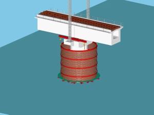 水面上で円筒状のライナープレートを組み立てる
