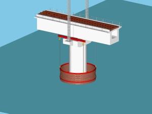 組み立てたライナープレートを水中に吊り下ろす