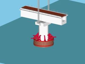ライナープレートが動かないように上部を鋼材で固定し、底版コンクリートを水中で打設する