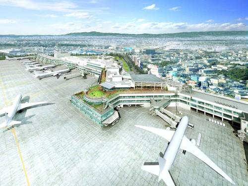 福岡空港旅客ターミナルビル再整備後のイメージ(設計:梓設計、提供:福岡空港ビルディング)