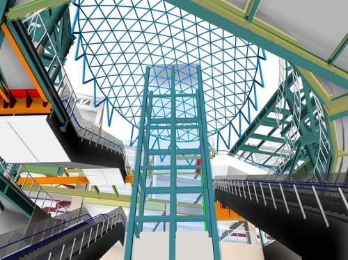 ターミナルビルと地下鉄駅をつなぐ吹き抜け部の構造と設備。エレベーターのBIMモデルは東芝エレベータがRevitで作成
