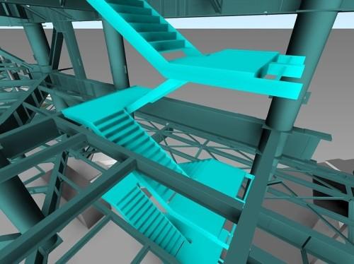 階段の詳細BIMモデル。横森製作所がAutoCADで作成