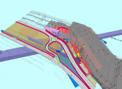 既存、新築、地下鉄が複雑に入り交じる「2ビル接続部」の地下工事