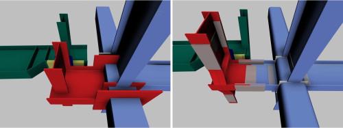 スライド支承の当初案(左)と改善案(右)。受け梁を示す赤い部分のうち、改善案は現場溶接が必要ないことがよくわかる