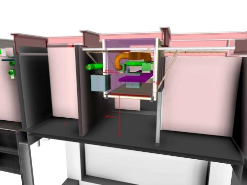 バゲージハンドリングシステムが区画壁を貫通する部分の構造もBIMで検討