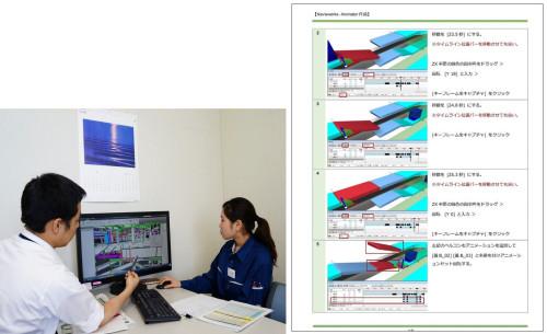 現場でのBIM教育(左)と独自に作成したNavisworks用のテキスト(右)