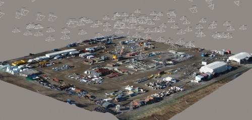 ドローンによる空撮写真と3Dリアリティー・モデリングソフト「ContextCapture」で作成した資材ヤードの3Dモデル