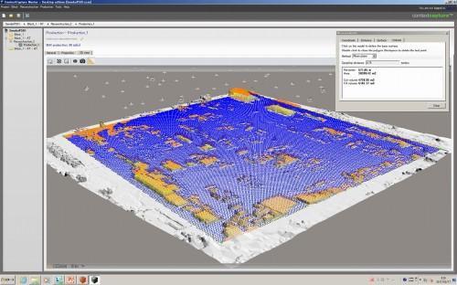 地表面をブルー、それより高い部分をオレンジで色分けした図。モデル形状解析を行えば、ヤードの利用率も自動計算することが可能だ