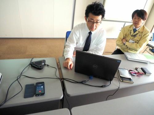 海外の現場とContextCaptureで作った3Dモデルを共有しながらの会議風景