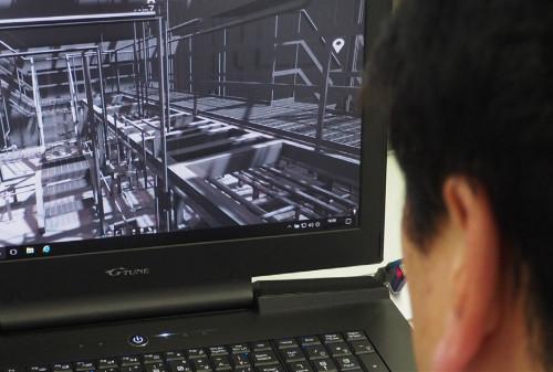 Focus3D X 130で計測した点群データをもとに作成した既存プラントの3Dモデル