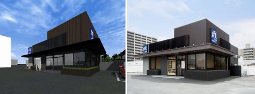 テナントの大戸屋からの依頼で作成した外装デザインのCGパース(左)と完成後の店舗写真(右)
