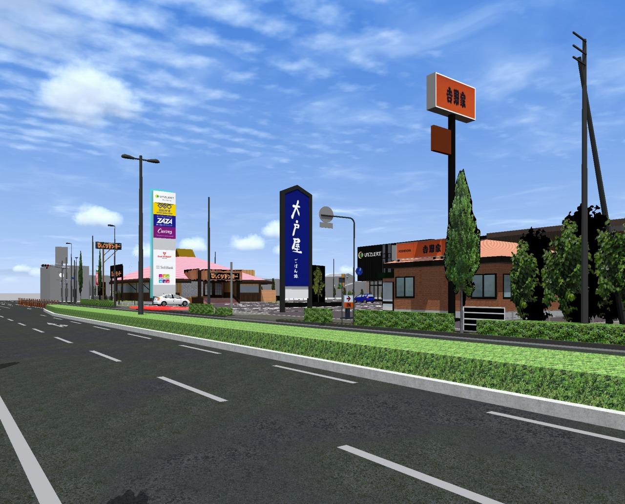 大通りからも裏口の通路からも見えやすい看板のシミュレーション