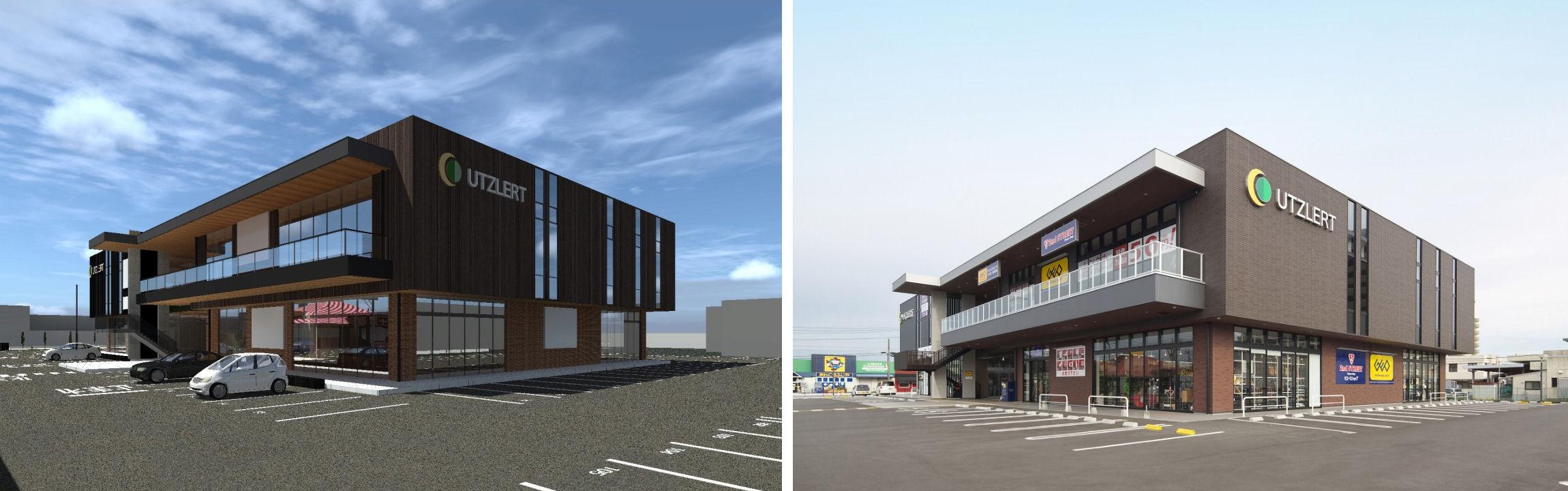 商業施設の完成予想パース(左)と完成写真(右)