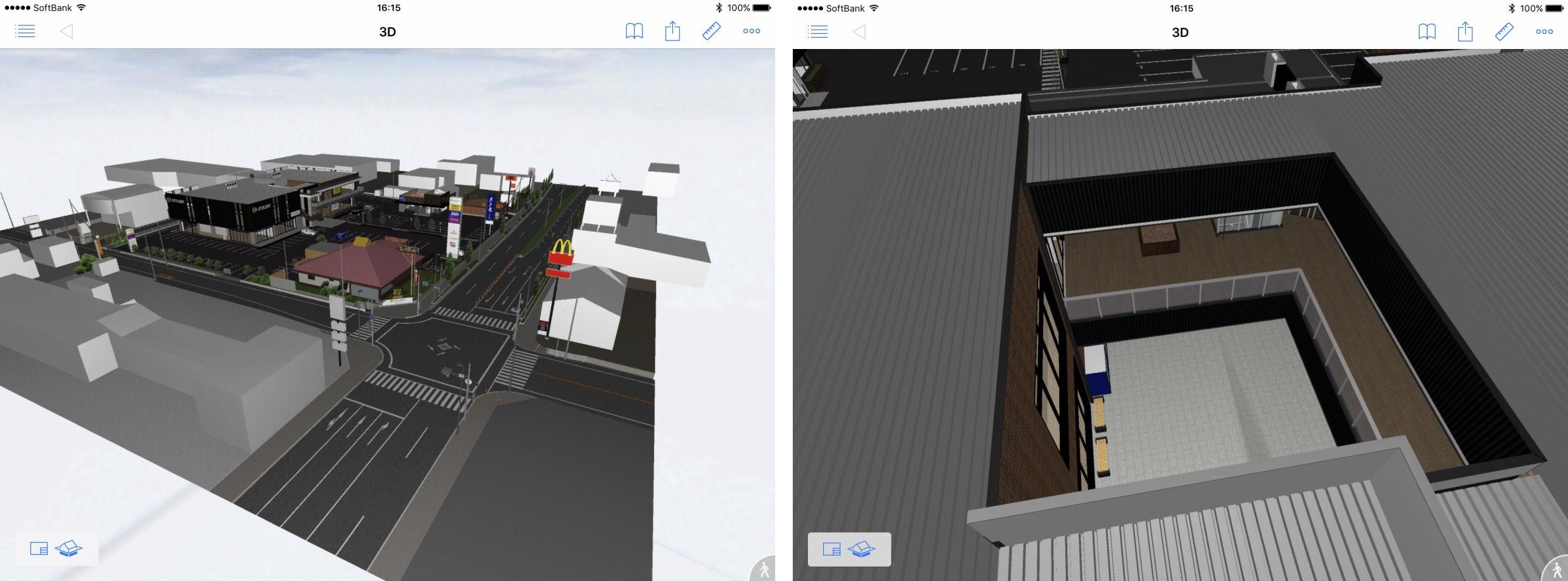 ビューワーツール「BIMx」によるデザインの確認(左)。吹き向け部分の納まり部分をBIMxで見た例(右)