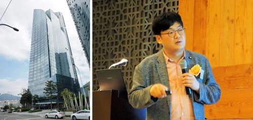 2017年6月30日、「EXODUS SMARTFIRE国際防災セミナー」が開催された釜山のパーク・ハイアットホテル(左)と講演するジュンホ・チョイ氏(右)