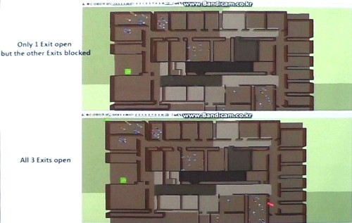 カラオケ店で起こった火災の避難シミュレーション