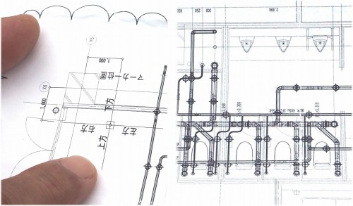 今回の墨出し作業用に作った図面。マーカーの設置位置には寸法が入っているが、インサートの部分にはほとんど寸法線が入っていない