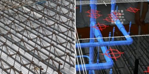 鋼床デッキプレートは銀色に輝いて見える(左)が、サンバイザーを付けたHoloLensで見ると輝きが抑えられ、3Dモデルがはっきりと見える(右)