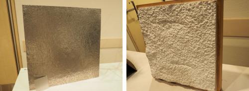 鎚起によってたたき出したアルミ板(左)。洋服の質感をモチーフにデザインした吹きつけ断熱材による内装(右)