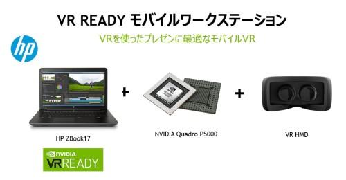 日本HPのモバイルワークステーション「HP ZBook17」とVR Readyタイプのグラフィックボードの組み合わせによるVR推奨構成の例