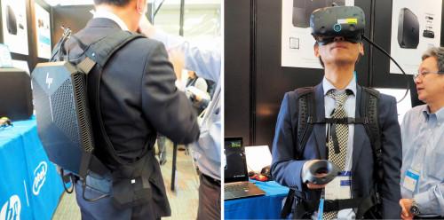 背負って歩けるVR用ワークステーション「HP Z VR Backpack」にはVR Readyの「NVIDIA QUADRO P5200」グラフィックボードが搭載されている。「Archi Future 2017」に出展した日本HPのブースにて