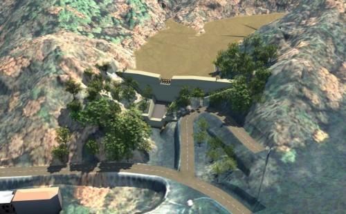 初年度にパイロットプロジェクトとして手がけた砂防堰(えん)堤のCIMモデル。AutoCAD Civil 3Dで作成した