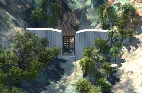 透過型砂防堰堤の例。複雑な地形にすり付けるような設計が求められる