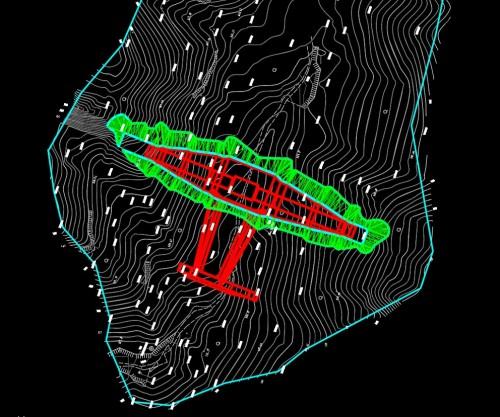 堤体を設置するための掘削範囲(緑色の部分)や掘削土量の算定も精密に行える