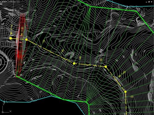 AutoCAD Civil 3Dで行った谷部の堆砂量計算。分割した堆砂部が裏返ることなく、小さな支流部分(右上部分)の容積も正確に算出できる