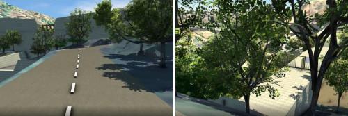下流の道路から見た堤体のスケール感(左)。遊歩道を歩く人から見た堤体のシミュレーション(右)