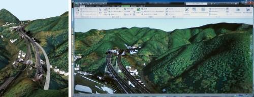 InfraWorksで作成した小仏トンネル坑口付近のCIMモデル。尾根や谷との位置関係が一目瞭然だ