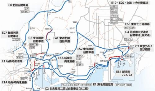NEXCO中日本が建設、維持管理する高速道路網。その延長距離は約2000kmにも及ぶ