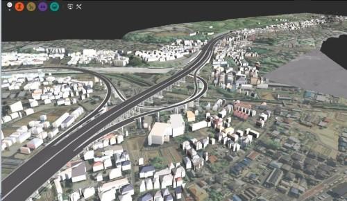 InfraWorksで作成した既設高速道路のCIMモデル。今後は運用や維持管理での活用が課題だ