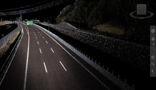 MMSによって計測した道路の点群データ