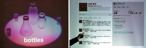 ビンに詰め込んだ音が再生する「ミュージック・ボトルズ」(左)。石井氏の母親である石井和子氏が死後もツイートし続ける「雲海墓標」(右)
