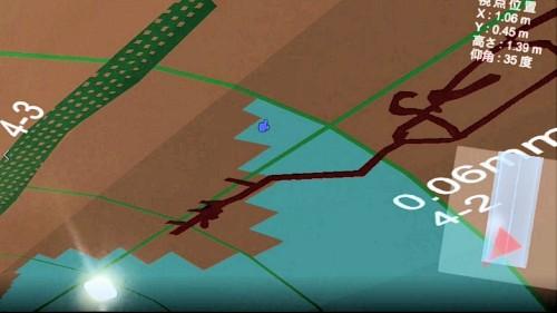 HoloLensを通して見た現場。ひび割れに見立てた線と地質展開図の位置関係などが一目でわかる(注:ひび割れは本トンネルのものではありません)