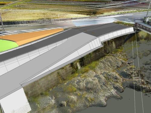 山国川の護岸。奇岩や玉石積みなど、自然の曲面と施工性を両立させるため、曲線に限りなく近い折れ線を多用した施工モデルを作成している