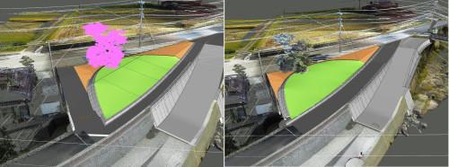 維持管理用の道路が急角度で曲がっていた元の設計案(左)を改良した案(右)